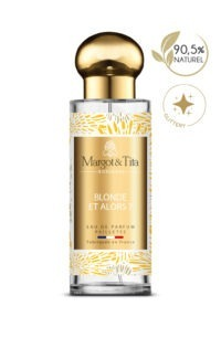30ml perfume Blond and so from the French brand Margot&Tita. Floral scent composed on top of lemon, bergamot and cardamom, in heart, rose, peony, nutmeg, pepper and in base patchouli, musk, moss, amber.