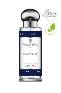 30ml perfume Dandy chic from the brand Margot&Tita. Woody scent composed on top of pink pepper, lemon, apple, bergamot and grapefruit. In heart, mandarin, guaiac wood, cedarwood and in base cashmere wood, amber, musk, sandalwood.