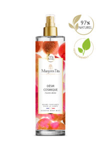 150ml vegan scented body mist Cosmic desire from the brand Margot&Tita. Floral scent composed on top of green lemon, bergamot, pepper and mandarin. In heart, jasmine, plum, marine notes and in base musk, white flowers, nenuphar.