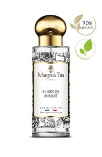 30ml perfume Midnight elixir from the brand Margot&Tita. Oriental scent composed on top of rose, pear, mandarin and peony. In heart, coffee, jasmine, solar flowers and in base vanilla, musky, tonka bean, woody.