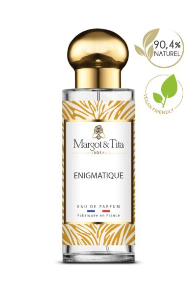 30ml perfume Enigmatic from the brand Margot&Tita. Oriental scent composed on top of neroli and bergamot. In heart jasmine, orange blossom, honey and in base white musk, cedarwood, patchouli.