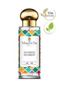 30ml perfume Oriental escapade from the brand Margot&Tita. Oriental scent composed on top of bergamot, pear and rose. In heart peony, geranium and in base aoud, musk, ambery.