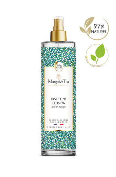 150ml vegan scented body mist Just an illusion from the brand Margot&Tita. Fruity scent composed on top of pear, apple and blackcurrant. In heart peach, plum, white flowers and in base ambery, musky, heliotrope, sandalwood.