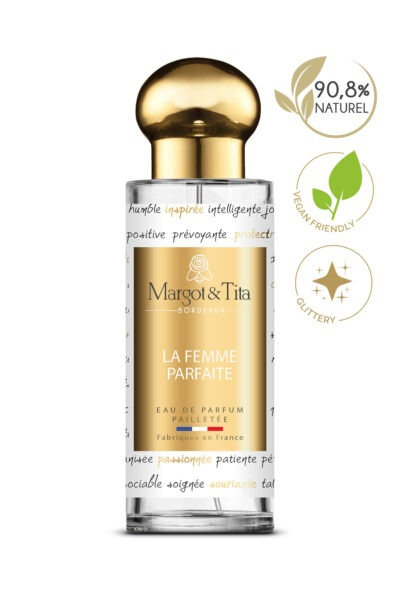 30ml perfume The perfect woman from the brand Margot&Tita. Floral scent composed on top of lychee, pink pepper, orange and blackcurrant. In heart peach, lily of the valley, rose, violette and in base vanilla, musk, woody, patchouli, raspberry.
