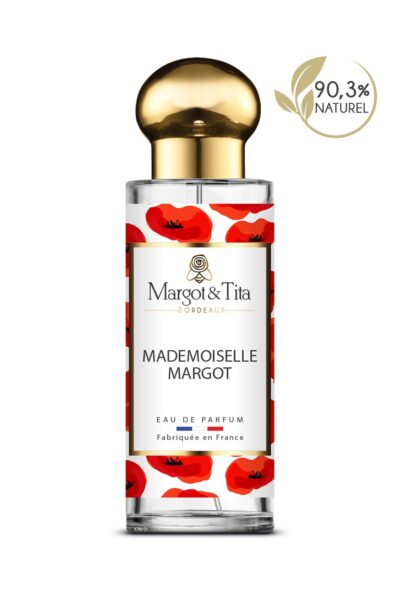 30ml perfume Mademoiselle Margot from the brand Margot&Tita. Floral scent composed on top of bergamot, lemon and cedarwood. In heart sandalwood, jasmine, blackberry and in base musky, solar, vanilla.