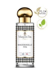 30ml perfume Mademoiselle Tita from the brand Margot&Tita. Oriental scent composed on top of lemon, orange and freesia. In heart rose, jasmine, peony and in base vetiver, patchouli, sandalwood.