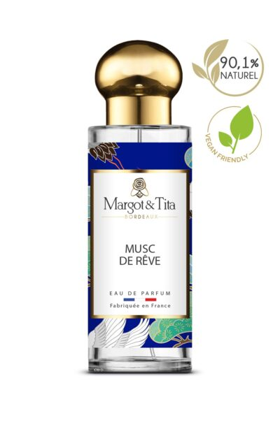 30ml perfume Musky dreams from the brand Margot&Tita. Musky scent composed on top of ylang-ylang and coriander. In heart jasmine, rose, peony, patchouli and in base tonka bean, musk, benzoin.