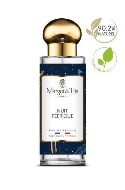 30ml perfume Fairy night from the brand Margot&Tita. Oriental scent composed on top of mandarin, bergamot and incense. In heart cedarwood, vanilla, jasmine, pepper and in base ambery, musky, benzoin.