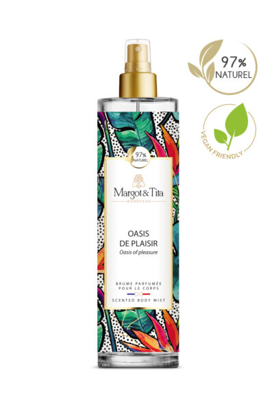 150ml vegan scented body mist Oasis of pleasure from the brand Margot&Tita. Fruity scent composed on top of lemon, bergamot, grapefruit and passion fruit. In heart peony, orchid, apple, pear and in base lily of the valley, musky, woody, jasmine.