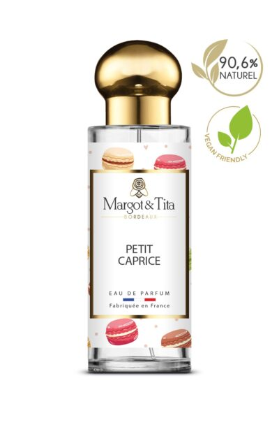 30ml perfume Little whim from the brand Margot&Tita. Sweet and gourmand scent composed on top of coriander, bergamot and orange. In heart pink praline, white flowers and in base vanilla, musky, tonka bean.