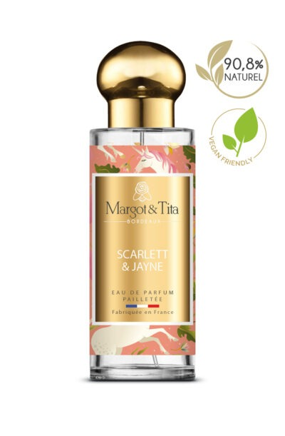 30ml perfume Sclarlett&Jayne from the brand Margot&Tita. Floral scent composed on top of lemon, mandarin, bergamot and pear. In heart rose, peony, patchouli and in base musky, woody, ambery.