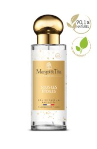 30ml perfume Under the stars from the brand Margot&Tita. Fruity scent composed on top of cherry, bergamot and mandarin. In heart red fruits, orchid, rose and in base vanilla, sandalwood, musky.