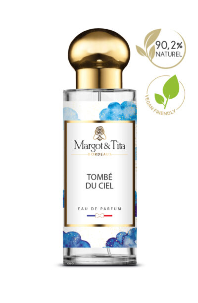30ml perfume Fell from the sky from the brand Margot&Tita. Fruity scent composed on top of orange, grapefruit and orange blossom. In heart patchouli, raspberry, peach and in base vanilla, musk, sweet.
