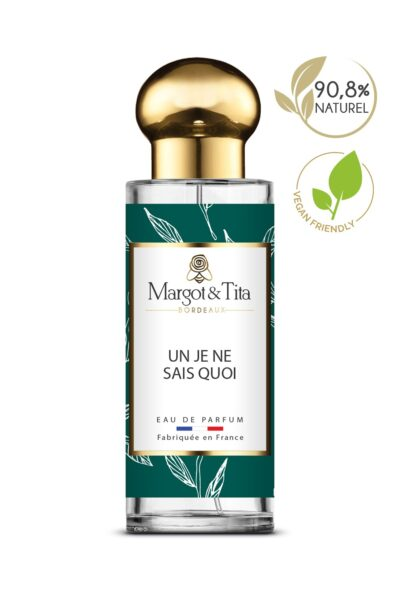 30ml perfume Un je ne sais quoi from the brand Margot&Tita. Citrus scent composed on top of lemon, bergamot and ginger. In heart tea, coriander, mint, thyme and in base musky, jasmine, peony.