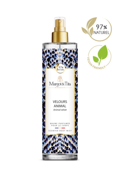 150ml vegan scented body mist Animal velvet from the brand Margot&Tita. Musky scent composed on top of pear, mandarin and orange. In heart white flowers, jasmine, musk and in base ambergris, sandalwood, vanilla, solar notes.