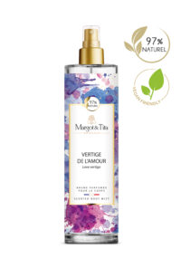 150ml vegan scented body mist Love vertigo from the brand Margot&Tita. Floral scent composed on top of pear, mango, bergamot and nectarine. In heart lotus, jasmine, magnolia and in base musky, sandalwood, vanilla.