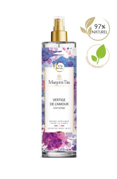 150ml vegan scented body mist Love vertigo from the brand Margot&Tita. Floral scent composed on top of pear, mango, bergamot and nectarine. In heart lotus, jasmine, magnolia and in base musky, sandalwood, vanilla.