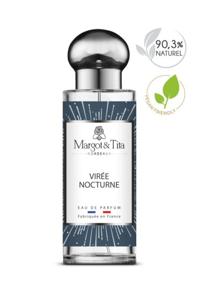 30ml perfume Night trip from the brand Margot&Tita. Woody scent composed on top of bergamot, lemon and sage. In heart cashmere wood, vetiver, cedarwood and in base ambery, woody, sandalwood.