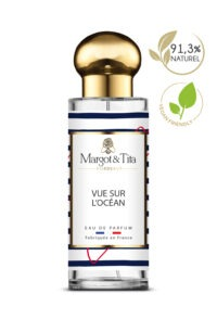 30ml perfume Ocean view from the brand Margot&Tita. Aquatic scent composed on top of lemon, bergamot and rosemary. In heart geranium, blackcurrant, aromatic notes and in base marine notes, floral, apple.