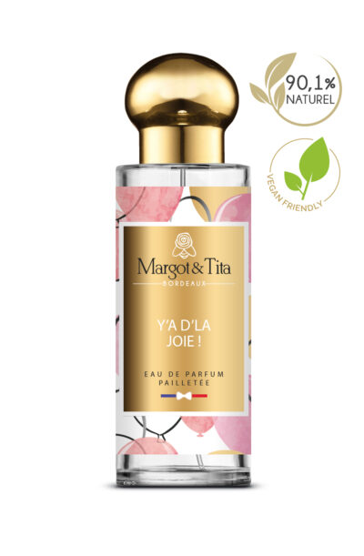 30ml perfume There is joy from the brand Margot&Tita. Sweet scent composed on top of pear, mandarin and blackcurrant. In heart peach, cane sugar, orange blossom and in base amber, patchouli, vanilla, musk, sandalwood.
