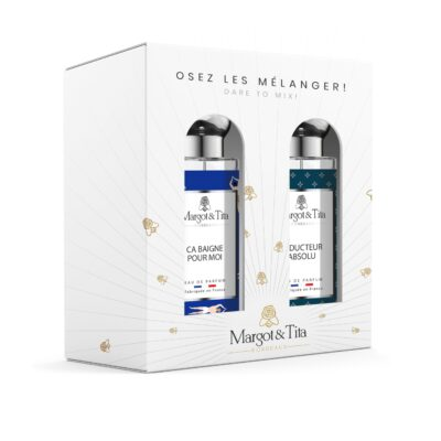 """Gift box duo MIX AND MATCH 2 30ml perfumes """"Life's a beach"""" and """"Absolute seducer"""" by Margot&Tita. Discover an aquatic and woody meeting."""