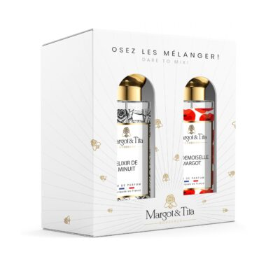 """Gift box duo MIX AND MATCH 2 30ml perfumes """"Midnight elixir"""" and """"Mademoiselle Margot"""" by Margot&Tita. Discover a sweet and floral meeting."""
