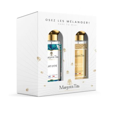 """Duo gift box MIX AND MATCH 2 30ml perfumes """"A weekend in Arcachon"""" and """"Flirty summer"""" by Margot&Tita. Discover a solar and fruity meeting."""