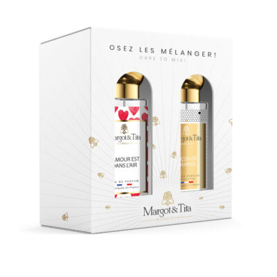 """Gift box duo MIX AND MATCH 2 30ml perfumes """"Love is in the air"""" and """"Lessons in charm"""" by Margot&Tita. Discover a floral and fruity meeting."""