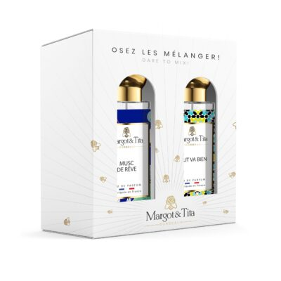 """Duo gift box MIX AND MATCH 2 30ml perfumes """"Musky dreams"""" and """"Everything is good"""" by Margot&Tita. Discover a musky and fruity meeting."""