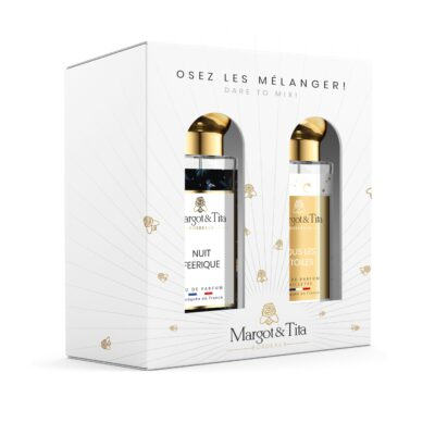 """Duo gift box MIX AND MATCH 2 30ml perfumes """"Under the stars"""" and """"Fairy night"""" by Margot&Tita. Discover a sweet and fruity meeting."""