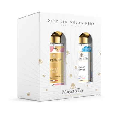 """Duo gift box MIX AND MATCH 2 30ml perfumes """"There is joy"""" and """"Fell from the sky"""" by Margot&Tita. Discover a sweet and fruity meeting."""