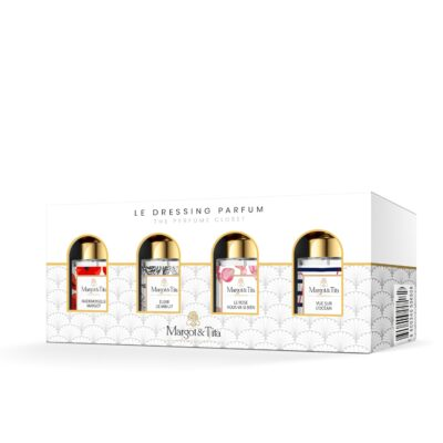 """Mini gift box The mini perfume wardrobe with 4 15ml perfumes """"Mademoiselle Margot"""", """"Midnight elixir"""", """"Rose suits you so well"""" and """"Ocean view"""" by Margot&Tita."""