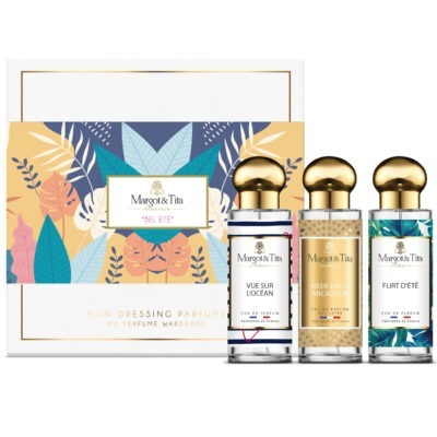 """Trio gift box Sweet summer with 3 30ml perfumes """"Flirty summer"""", """"Ocean view"""" and """"A weekend in Arcachon"""" by Margot&Tita. Discover fruity, solar and marine notes."""