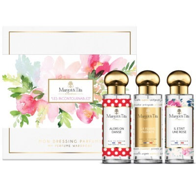 """Trio gift box Best seller with 3 30ml perfumes """"There was a rose"""", """"So we dance"""" and """"The perfect woman"""" by Margot&Tita."""