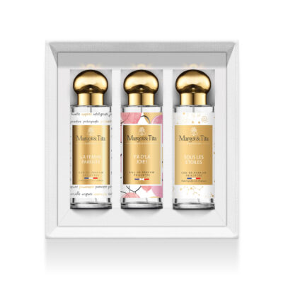 """Trio gift box Long live the glitter with 3 30ml perfumes """"The perfect woman"""", """"There is joy"""" and """"Under the stars"""" by Margot&Tita. Discover floral, fruity and gourmet scents with this box of glittery perfumes."""