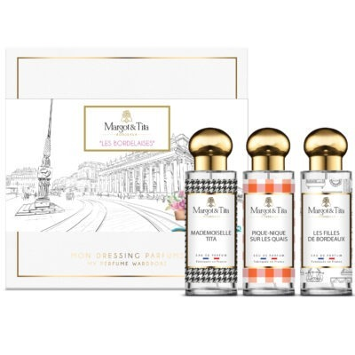 "Trio gift box Bordeaux with 3 30ml perfumes ""The girls of Bordeaux"", ""Mademoiselle Tita"" and ""Picnic on the quays"" by Margot&Tita. Discover all the charm of Bordeaux in this box of 3 perfumes with floral, oriental and solar notes."