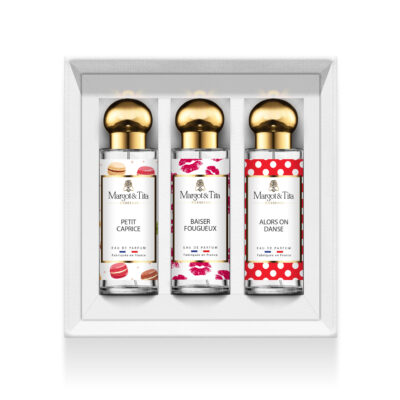 """Trio gift box What a gourmand with 3 30ml perfumes """"Little whim"""", """"Fiery kiss"""" and """"So we dance"""" by Margot&Tita. Discover sweet, fruity and vanilla notes."""