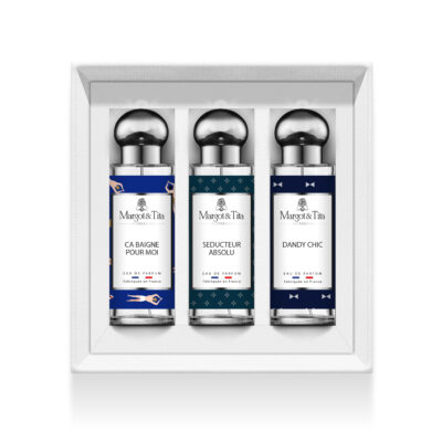 """Trio gift box for men with 3 30ml perfumes """"Life's a beach"""", """"Absolute seducer"""" and """"Dandy chic"""" by Margot&Tita. Discover woody and marine notes."""