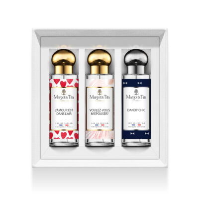 """Trio gift box The big day with 3 30ml perfumes """"Love is in the air"""", """"Would you like to marry me"""" and """"Dandy chic"""" by Margot&Tita. Discover sweet, floral and woody notes."""
