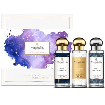 "Trio gift box Under the stars for him and her with 3 30ml perfumes ""Fairy night"", ""Under the stars"" and ""Night trip"" by Margot&Tita. Discover fruity, sweet and woody aromatic notes."