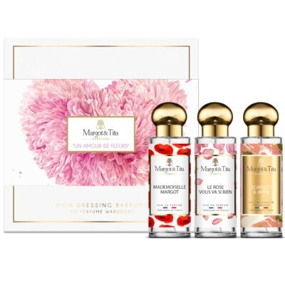 """Trio gift box A flower love with 3 30ml perfumes """"Mademoiselle Margot"""", """"Rose suits you so well"""" and """"Scarlett & Jayne"""" by Margot&Tita. 3 fragrances with floral and delicate notes."""