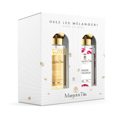 """Gift box duo MIX AND MATCH 2 30ml perfumes """"Blond and so"""" and """"Fiery Kiss"""" by Margot&Tita. Discover a floral meeting."""