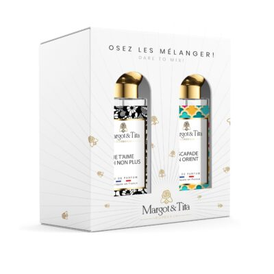 """Gift box duo MIX AND MATCH 2 30ml perfumes """"I love you...me neither"""" and """"Oriental escapade"""" by Margot&Tita. Discover a floral and oriental meeting."""
