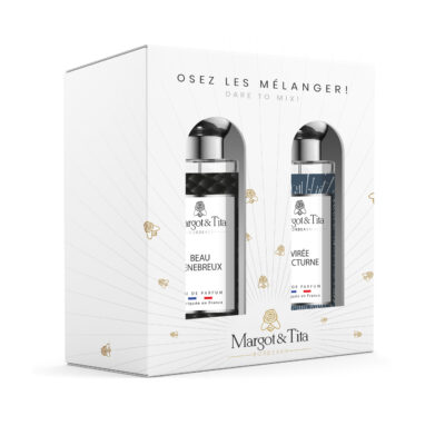 """Gift box duo MIX AND MATCH 2 30ml perfumes """"Beautiful gloom"""" and """"Night trip"""" by Margot&Tita. Discover a woody meeting."""