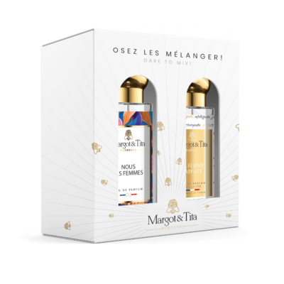 """Gift box duo MIX AND MATCH 2 30ml perfumes """"Us Women"""" and """"The perfect woman"""" by Margot&Tita. Discover a fruity and floral meeting."""