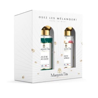 """Gift box duo MIX AND MATCH 2 30ml perfumes """"Un je ne sais quoi"""" and """"Little whim"""" by Margot&Tita. Discover a sweet and citrus meeting."""