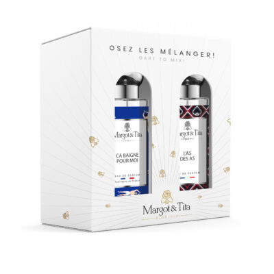 """Gift box duo MIX AND MATCH 2 30ml perfumes """"Life's a beach"""" and """"You're an ace"""" by Margot&Tita. Discover an aquatic and woody meeting."""